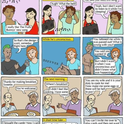 cartoon depicting consent scenarios